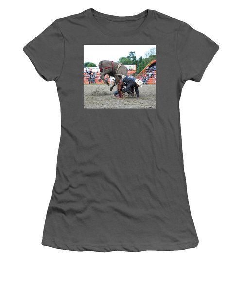 Bull Riding Action Women's T-Shirt (Athletic Fit)
