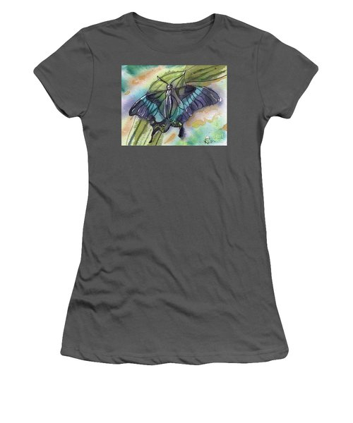 Women's T-Shirt (Junior Cut) featuring the painting Butterfly Bamboo Black Swallowtail by D Renee Wilson