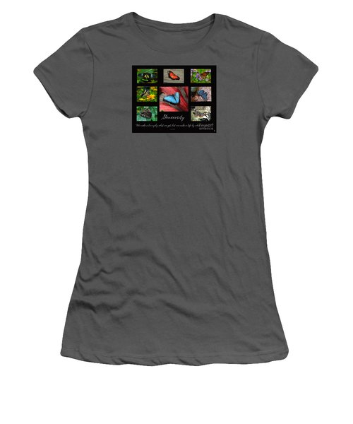 Butterfly Generosity Collage Women's T-Shirt (Junior Cut) by Diane E Berry