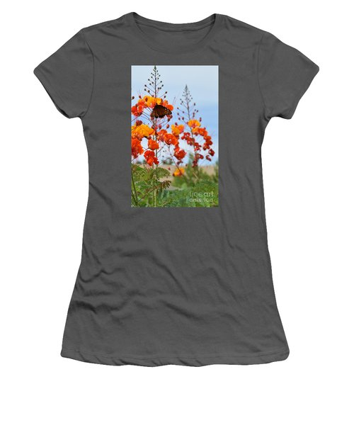 Butterfly On Bird Of Paradise Women's T-Shirt (Athletic Fit)