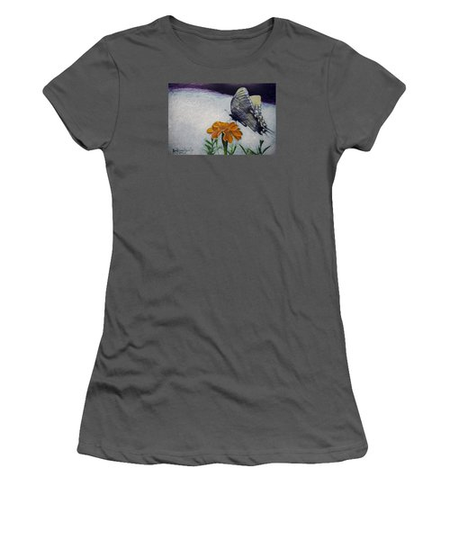 Women's T-Shirt (Junior Cut) featuring the painting Butterfly by Ron Richard Baviello