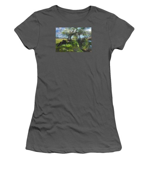 Women's T-Shirt (Junior Cut) featuring the pastel By The Dee by Harry Robertson