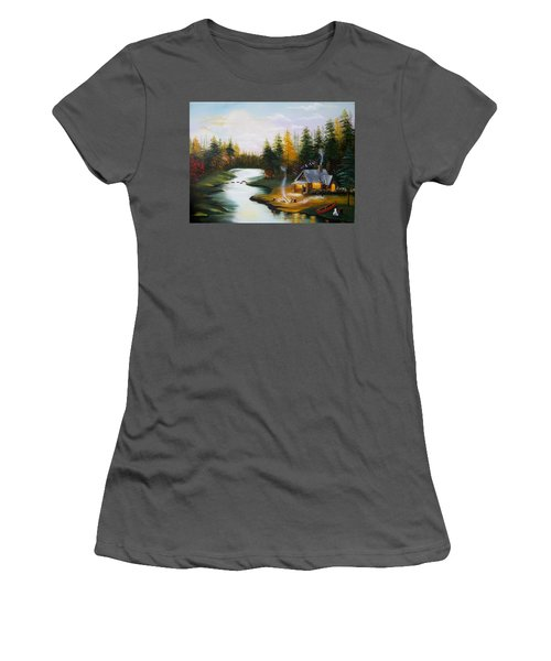 Cabin By The River Women's T-Shirt (Athletic Fit)