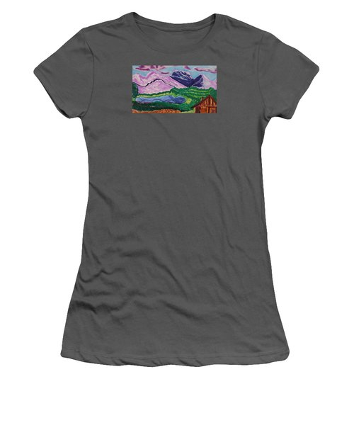 Cabin In The Mountains Women's T-Shirt (Junior Cut) by Don Koester