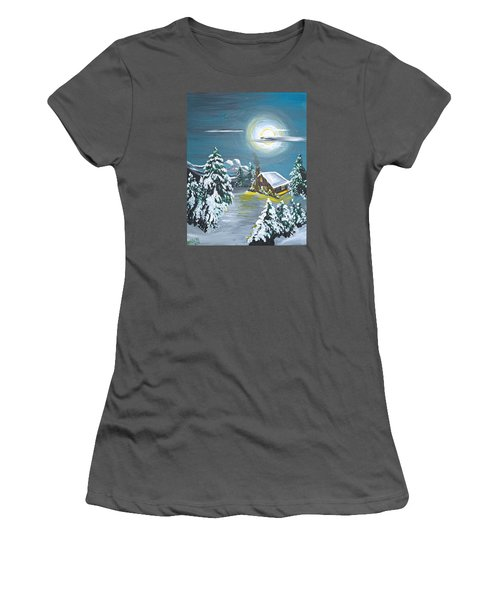 Women's T-Shirt (Junior Cut) featuring the painting Cabin In The Woods by Donna Blossom