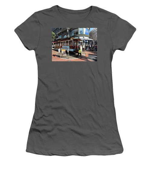 Women's T-Shirt (Junior Cut) featuring the photograph Cable Car Union Square Stop by Steven Spak