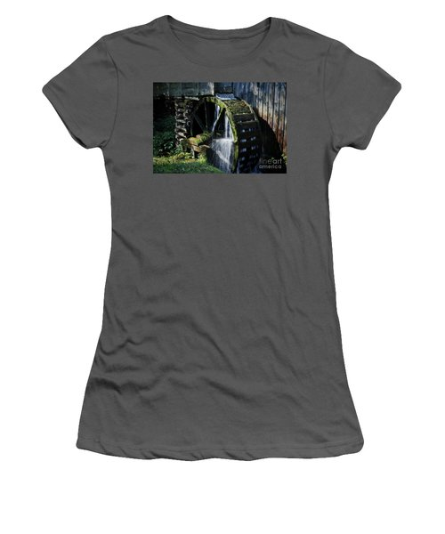Women's T-Shirt (Athletic Fit) featuring the photograph Cable Mill Water Wheel by Douglas Stucky