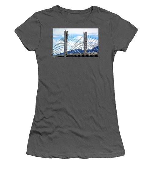 Women's T-Shirt (Athletic Fit) featuring the photograph Cable Stayed Bridge With Two Pylons by Yali Shi