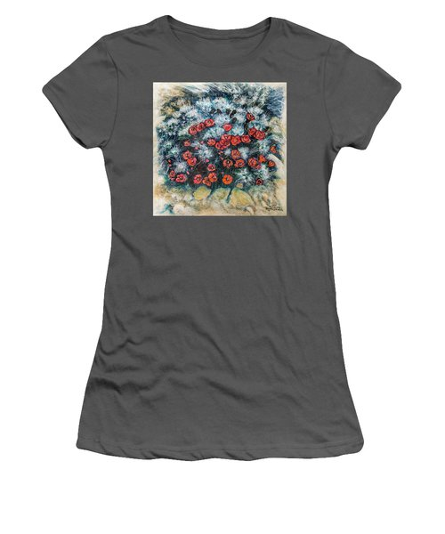 Women's T-Shirt (Junior Cut) featuring the painting Cactus Flower by Ron Richard Baviello