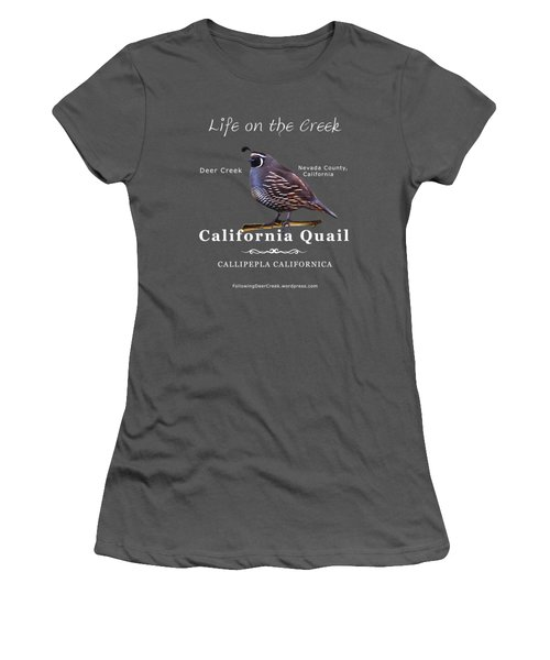 California Quail - Color Bird - White Text Women's T-Shirt (Athletic Fit)