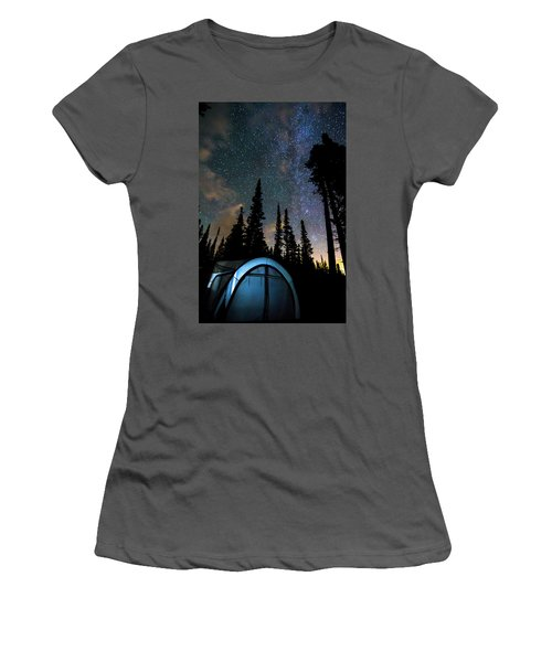 Women's T-Shirt (Junior Cut) featuring the photograph Camping Star Light Star Bright by James BO Insogna