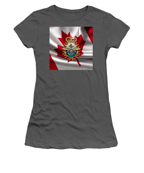 Canadian Forces Emblem Over Flag Women's T-Shirt (Athletic Fit)