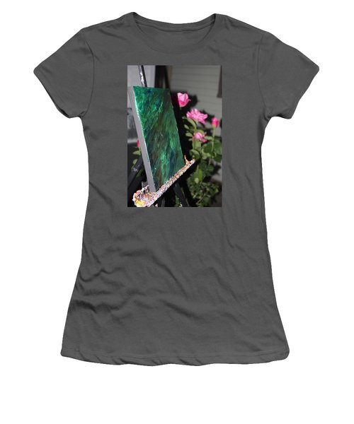 Women's T-Shirt (Athletic Fit) featuring the photograph Canvas And Roses by Vadim Levin