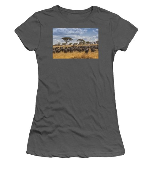 Women's T-Shirt (Junior Cut) featuring the tapestry - textile Cape Buffalo Herd by Kathy Adams Clark
