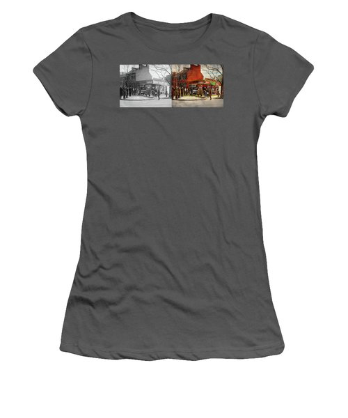 Women's T-Shirt (Junior Cut) featuring the photograph Car - Accident - Looking Out For Number One 1921 - Side By Side by Mike Savad