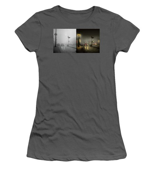 Women's T-Shirt (Junior Cut) featuring the photograph Car - Down A Lonely Road 1940 - Side By Side by Mike Savad