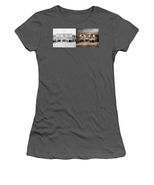 Women's T-Shirt (Junior Cut) featuring the photograph Car - Garage - Hendricks Motor Co 1928 - Side By Side by Mike Savad