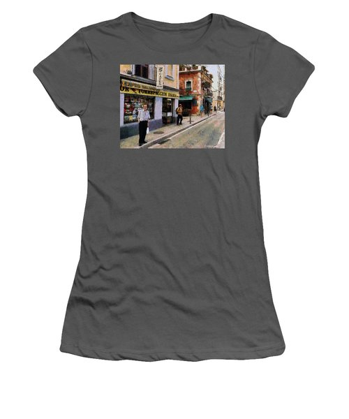 Women's T-Shirt (Junior Cut) featuring the painting Carrer Dosrius by Kai Saarto