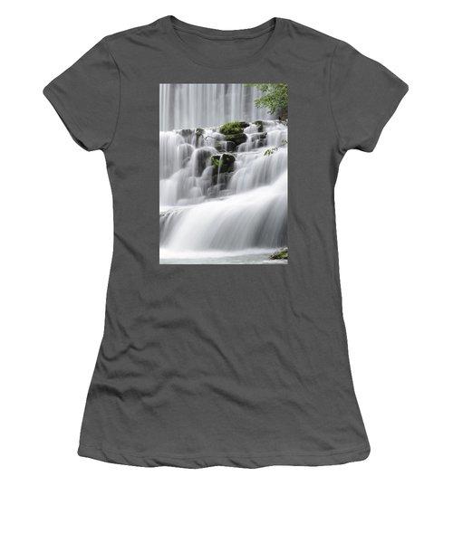 Cascading Mirror Lake Falls Women's T-Shirt (Junior Cut) by Renee Hardison