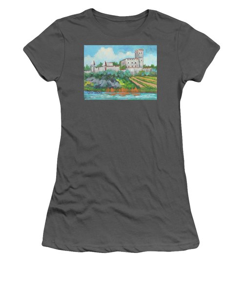 Women's T-Shirt (Junior Cut) featuring the painting Castle On The Upper Rhine River by Diane McClary