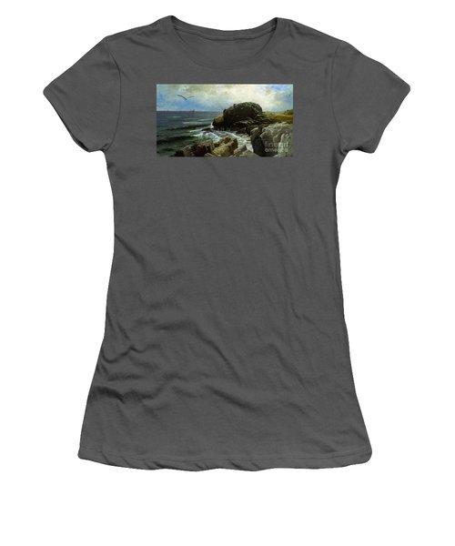 Women's T-Shirt (Junior Cut) featuring the digital art Castle Rock - Marblehead by Lianne Schneider
