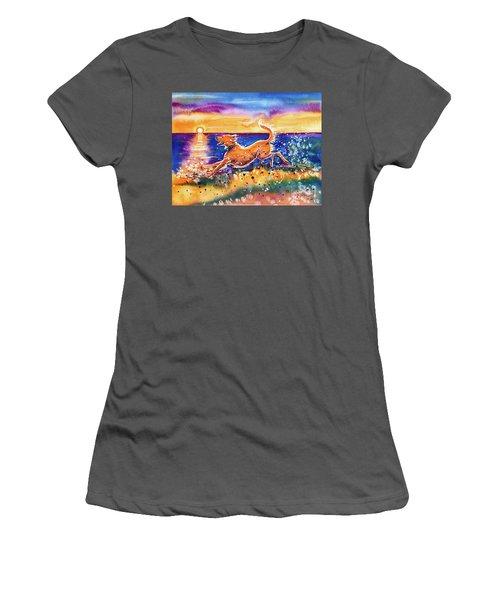 Women's T-Shirt (Athletic Fit) featuring the painting Catching The Sun by Zaira Dzhaubaeva