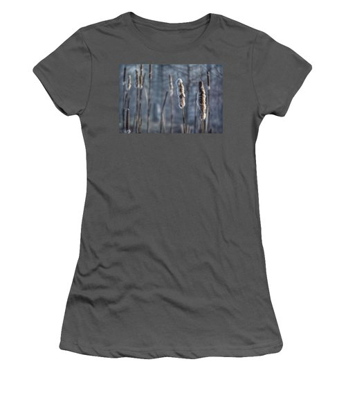 Cattails In The Winter Women's T-Shirt (Junior Cut) by Sumoflam Photography