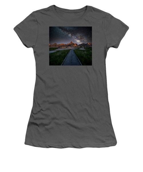 Women's T-Shirt (Athletic Fit) featuring the photograph Cedar Pass Milky Way by Darren White