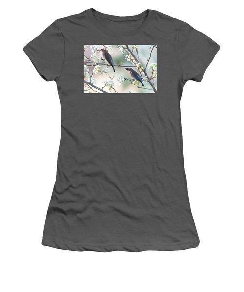 Cedar Wax Wing Pair Women's T-Shirt (Junior Cut) by Jim Fillpot