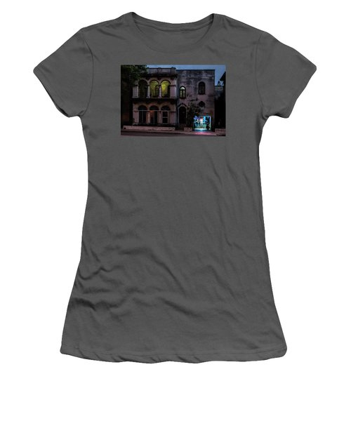 Women's T-Shirt (Athletic Fit) featuring the photograph Cell Phone Shop Havana Cuba by Charles Harden