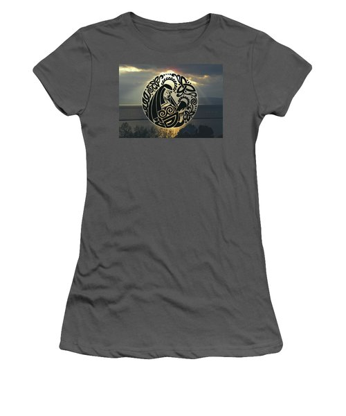 Celtic Madonna Over Sunset Women's T-Shirt (Athletic Fit)