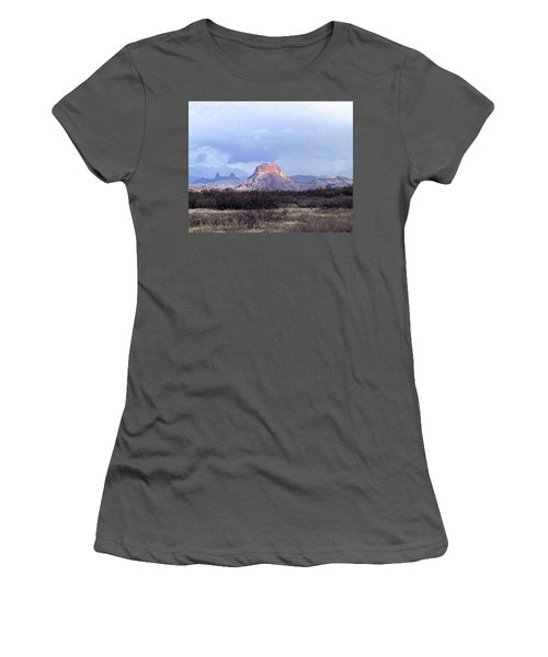 Women's T-Shirt (Junior Cut) featuring the painting Cerro Castellan And Mule Ears  by Dennis Ciscel
