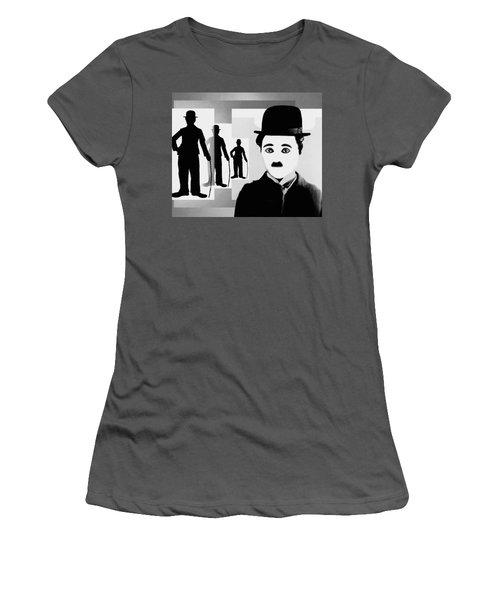 Chaplin, Charlie Chaplin Women's T-Shirt (Junior Cut) by Hartmut Jager