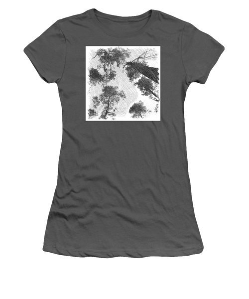 Charcoal Trees Women's T-Shirt (Junior Cut) by RKAB Works