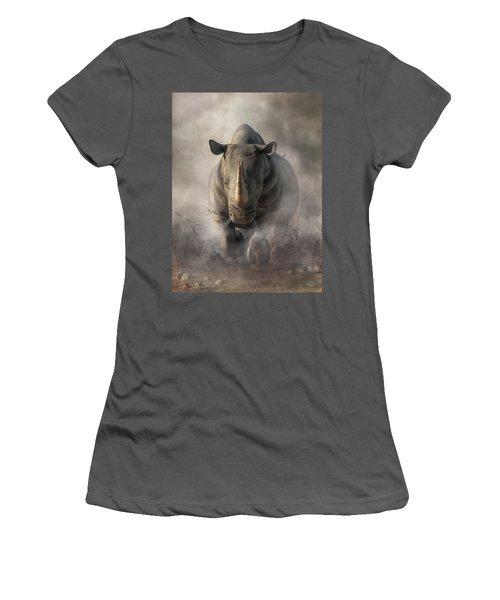 Charging Rhino Women's T-Shirt (Athletic Fit)