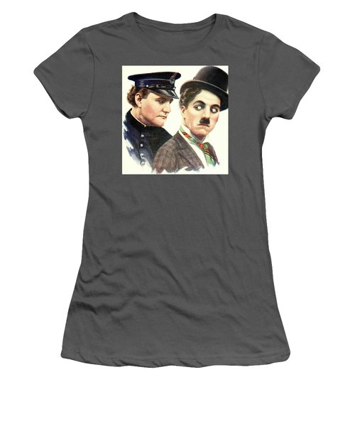 Charlie Chaplan And The Keystone Cop Women's T-Shirt (Athletic Fit)