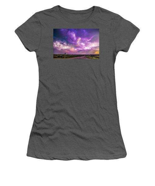 Chasing Nebraska Lightning 056 Women's T-Shirt (Athletic Fit)