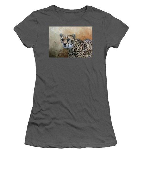 Cheetah Portrait Women's T-Shirt (Junior Cut) by Eva Lechner