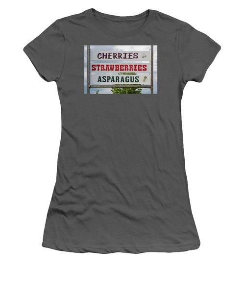 Cherries Strawberries Asparagus Roadside Sign Women's T-Shirt (Junior Cut) by Steve Gadomski