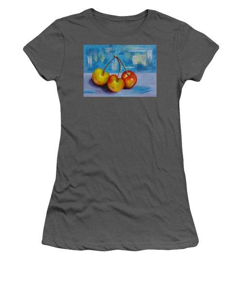 Cherries Trio Women's T-Shirt (Junior Cut) by Janet Garcia