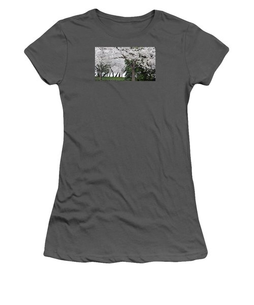 Cherry Blossoms Washington Dc Women's T-Shirt (Junior Cut) by Steve Archbold
