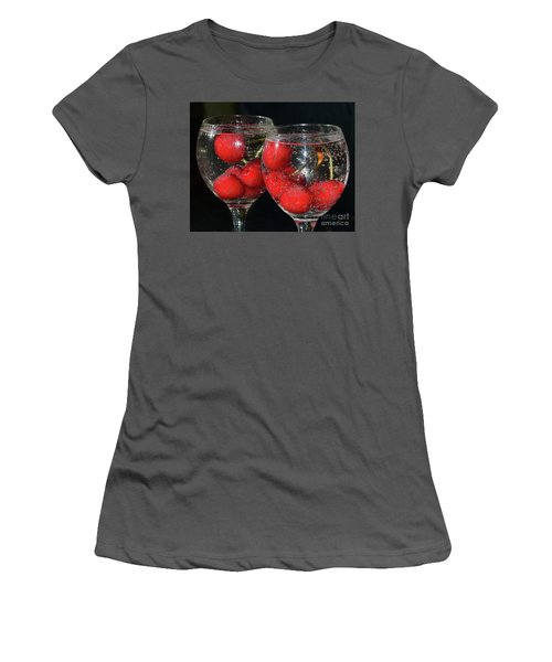 Women's T-Shirt (Junior Cut) featuring the photograph Cherry In Glass by Elvira Ladocki