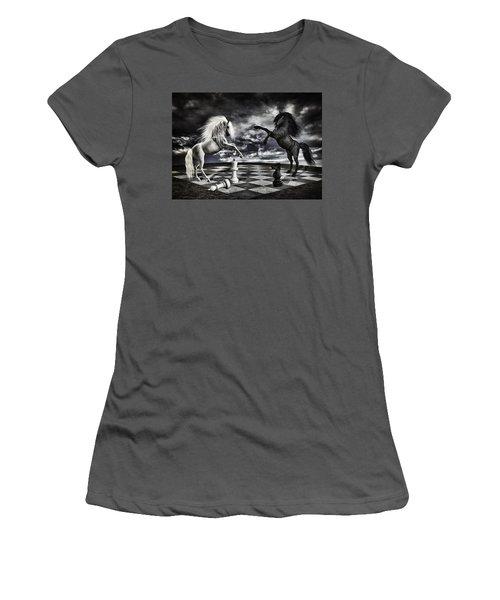 Chess Players Women's T-Shirt (Junior Cut) by Mihaela Pater