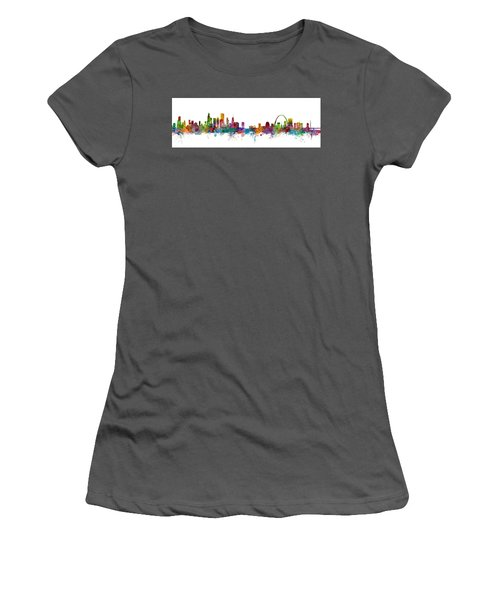 Chicago And St Louis Skyline Mashup Women's T-Shirt (Athletic Fit)