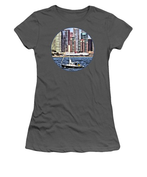 Chicago Il - Sailing On Lake Michigan Women's T-Shirt (Junior Cut) by Susan Savad