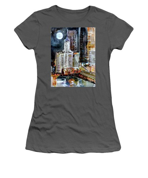 Chicago Night Wrigley Building Art Women's T-Shirt (Athletic Fit)