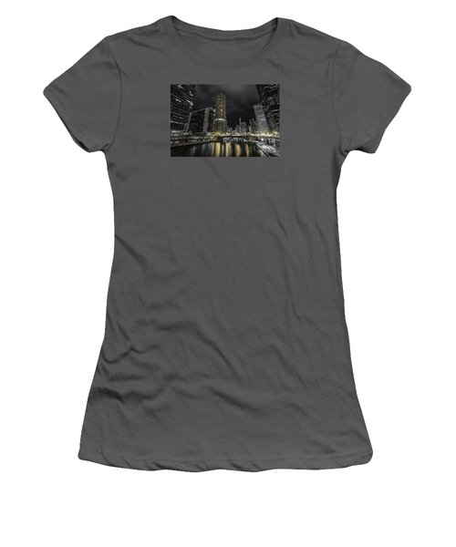 Women's T-Shirt (Junior Cut) featuring the photograph Chicago Riverfront Skyline At Night by Keith Kapple