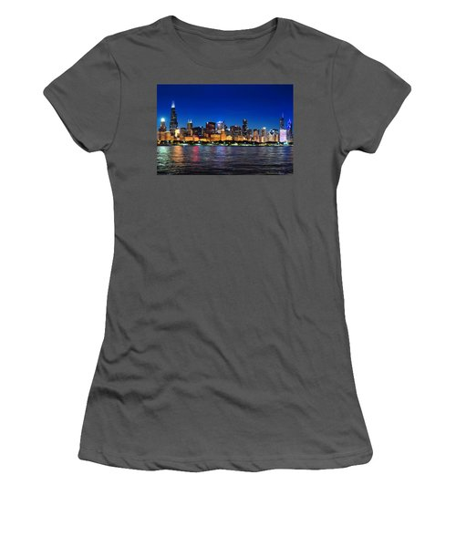 Chicago Shorline At Night Women's T-Shirt (Athletic Fit)
