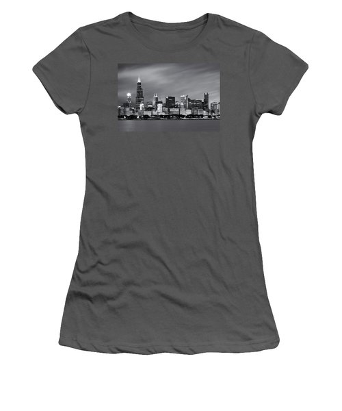 Women's T-Shirt (Junior Cut) featuring the photograph Chicago Skyline At Night Black And White  by Adam Romanowicz