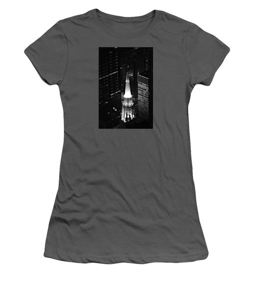 Women's T-Shirt (Junior Cut) featuring the photograph Chicago Temple Building Steeple Bw by Richard Zentner